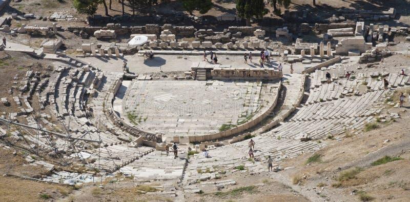 Vista para baixo no teatro de Dyonisus imagem de stock royalty free