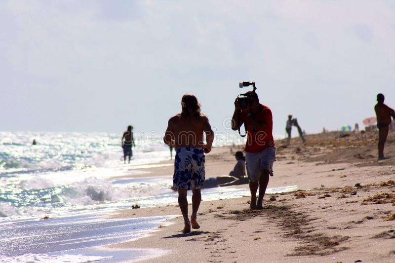 Vista para o mar em parte ensolarada da skyline do tiro da fotografia em Florida imagens de stock royalty free