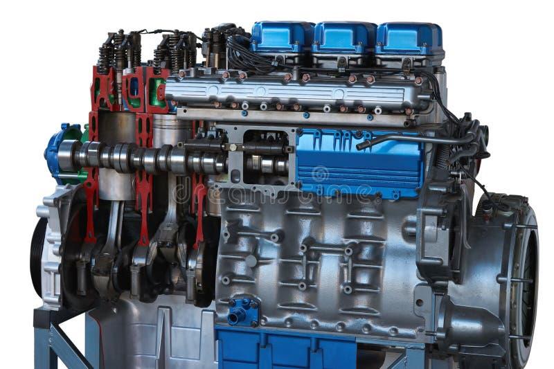 Vista parziale del motore del camion modello tagliato immagini stock