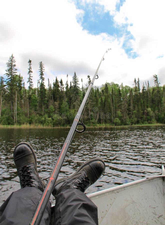 Vista pensionata del piede del pescatore dell'esercito fotografia stock libera da diritti
