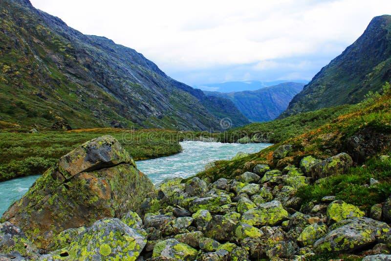Vista perfeita à água, ao lago e ao panorama das montanhas em Flam, Jotunheimen perto de Bergen em Noruega, Europa foto de stock