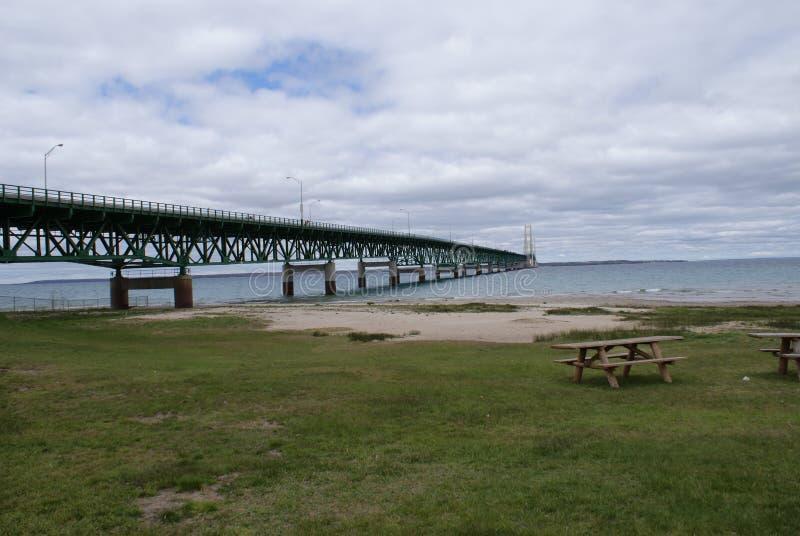 Vista più bassa della penisola del ponte di Mackinac fotografia stock libera da diritti