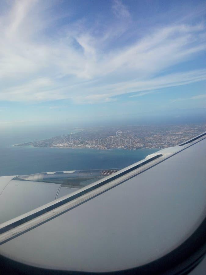 Vista piana della mia bella isola Aruba! fotografia stock