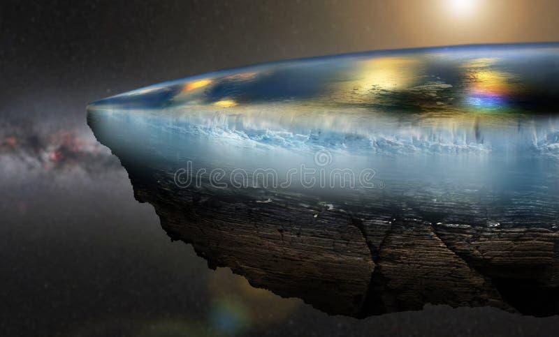 Vista piana di fine della terra illustrazione di stock