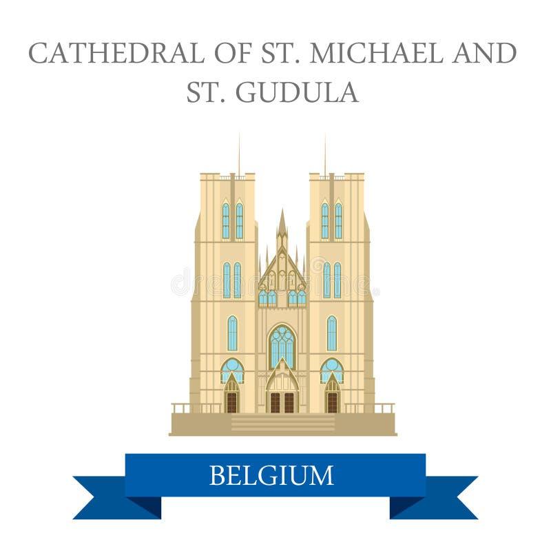Vista piana di vettore della st Mikhael Gudula Brussels Belgium della cattedrale illustrazione vettoriale