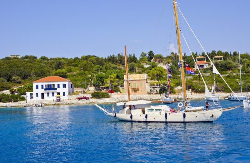 Vista pintoresca de la isla de Kefalonia, Grecia fotografía de archivo