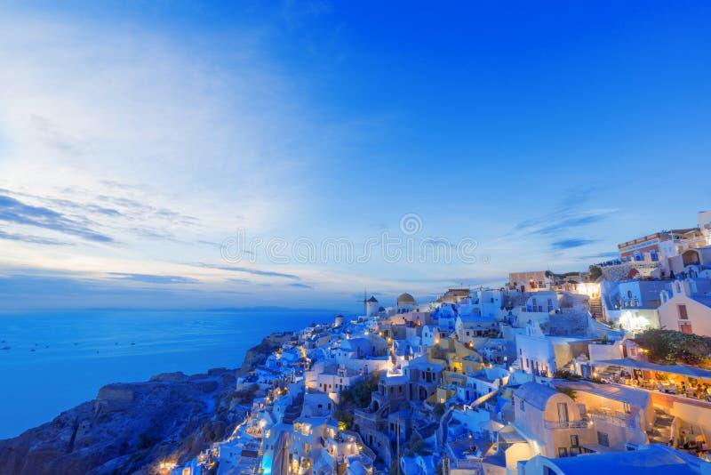 Vista pittoresca, Città Vecchia di OIA o di Ia sull'isola Santorini fotografia stock libera da diritti