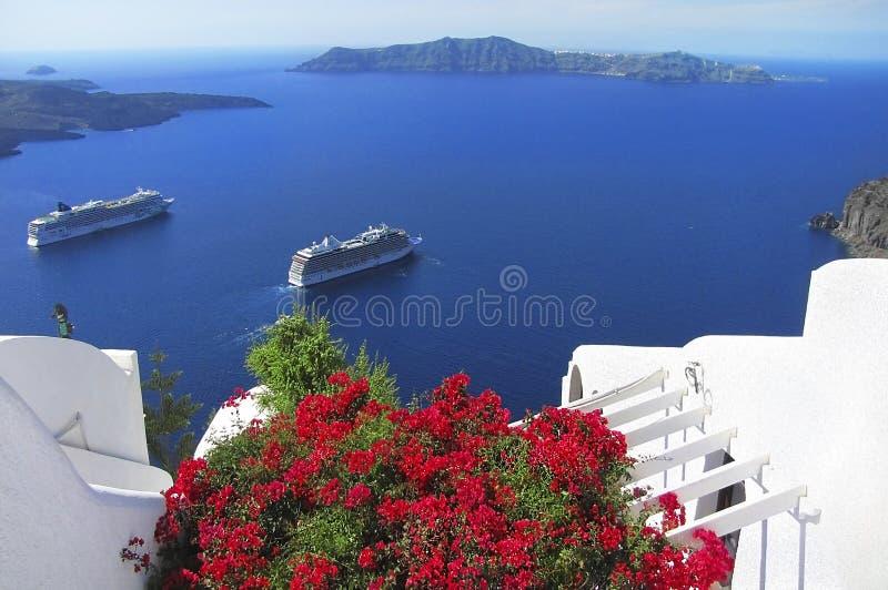 Vista pittoresca dell'isola di Santorini, Grecia fotografia stock