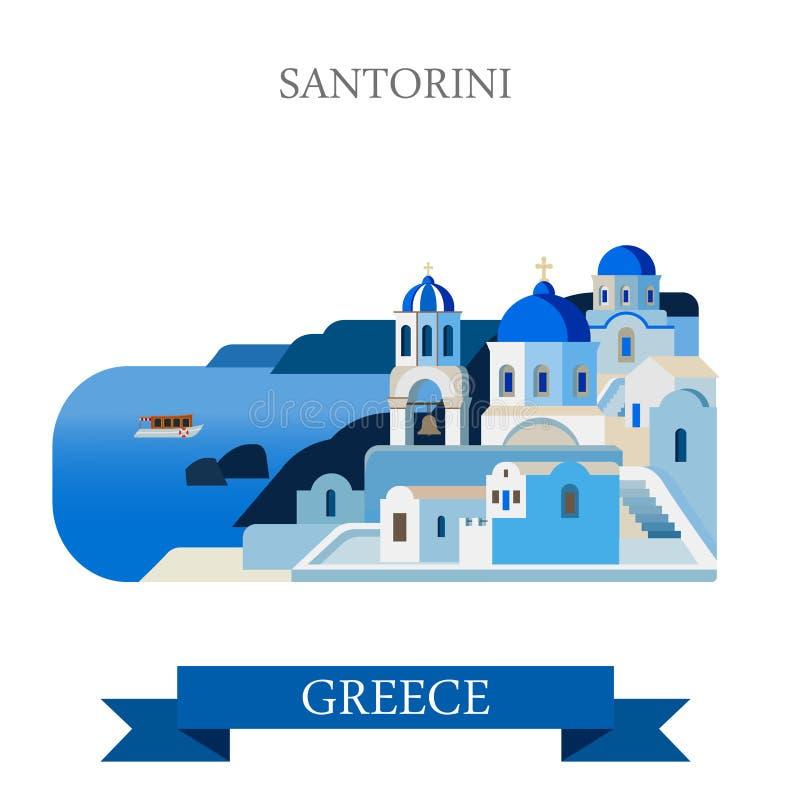 Vista plana de la atracción del vector de Grecia de las islas del Mar Egeo de Santorini stock de ilustración
