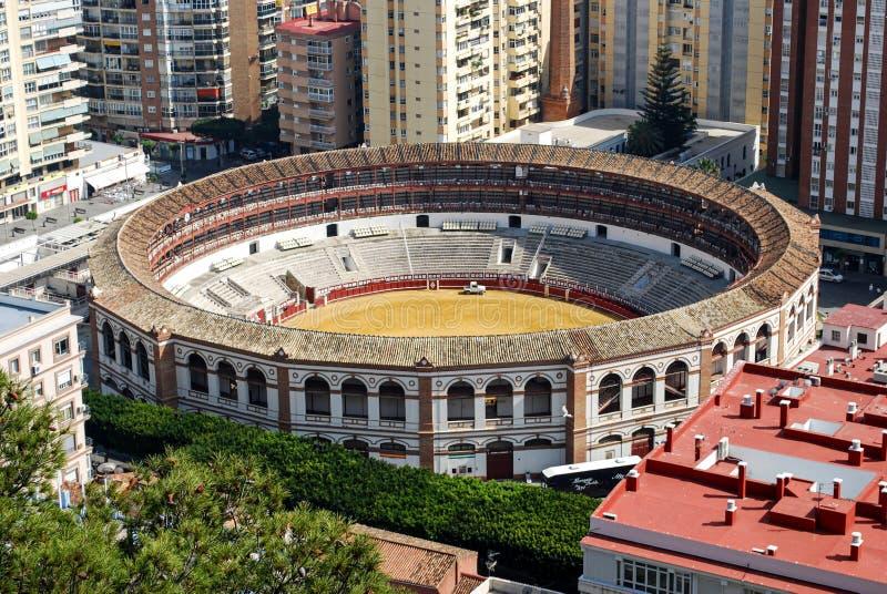 Vista plaza de toros de Málaga, España imagen de archivo