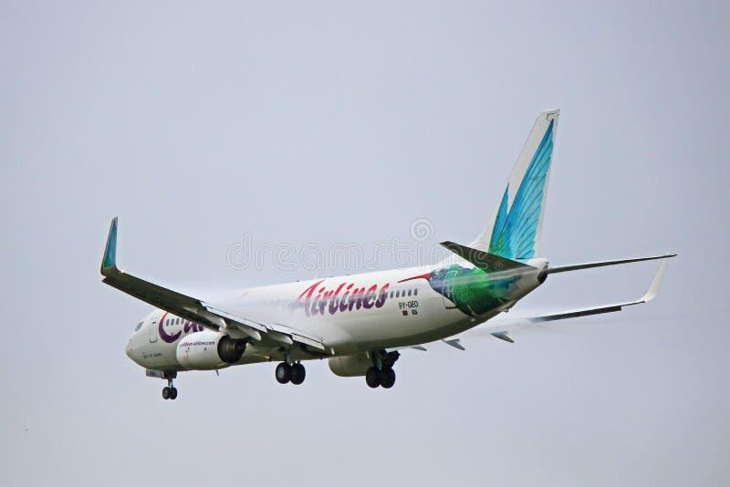 Vista posterior de Caribbean Airlines Boeing 737-800 foto de archivo libre de regalías