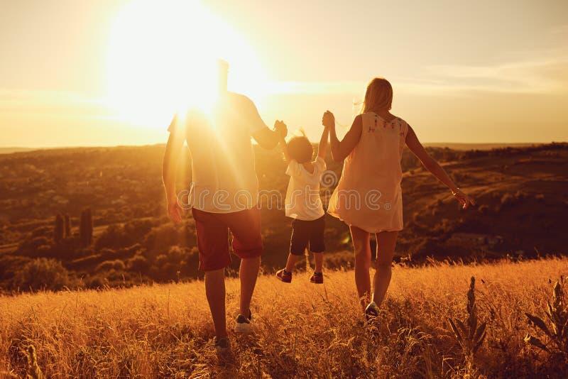 Vista posterior de la familia que se coloca en naturaleza en la puesta del sol fotografía de archivo