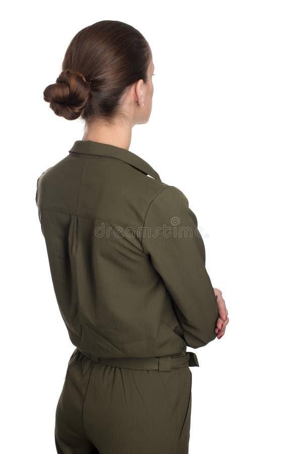 Vista posterior de la mujer hermosa joven, aislada imagen de archivo