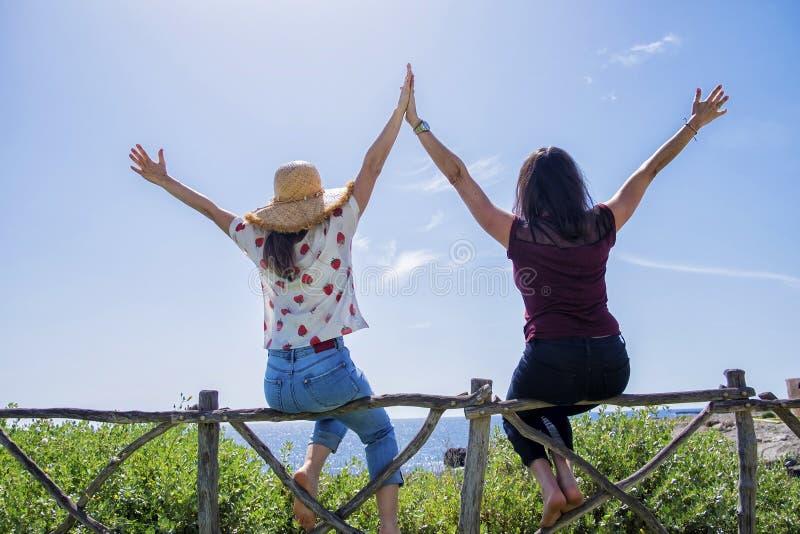 Vista posterior de la mujer joven dos que se sienta en una cerca con los brazos aumentados contra el cielo azul fotos de archivo libres de regalías