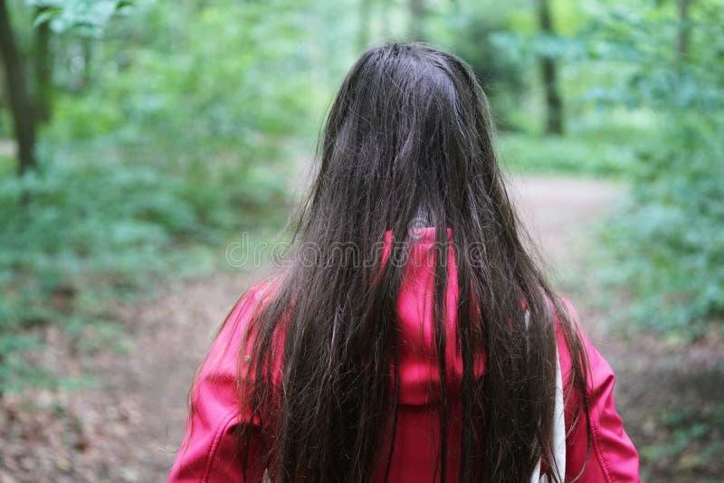 Vista posterior de la mujer joven irreconocible durante un paseo en el bosque fotos de archivo libres de regalías