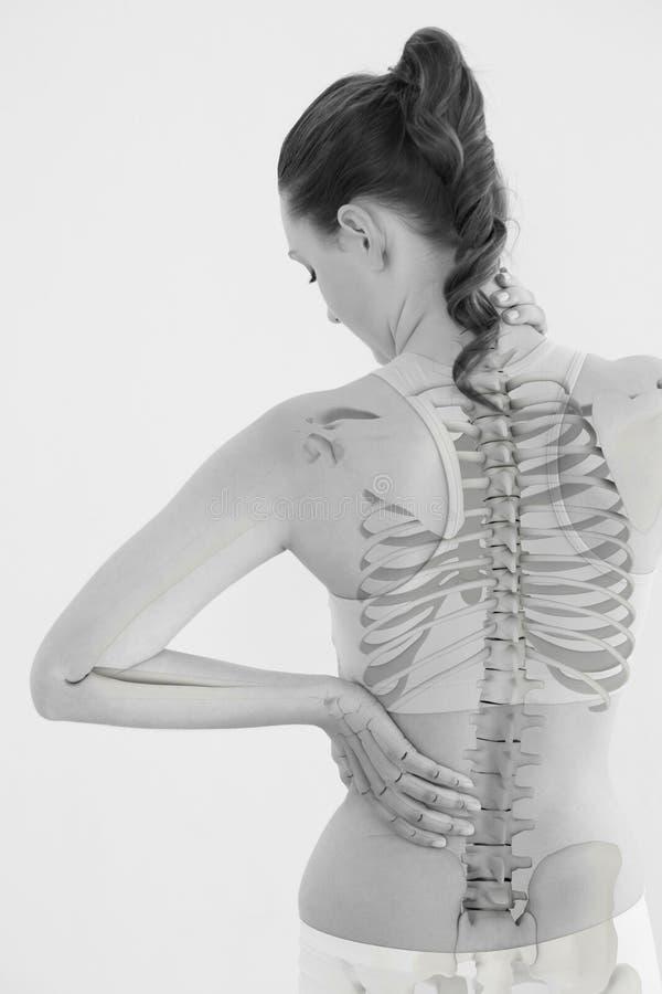 Vista posterior de la mujer que sufre del dolor muscular imagenes de archivo
