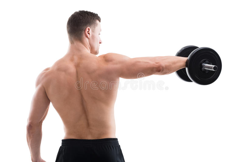 Vista posterior de la pesa de gimnasia de elevación del hombre fuerte foto de archivo libre de regalías