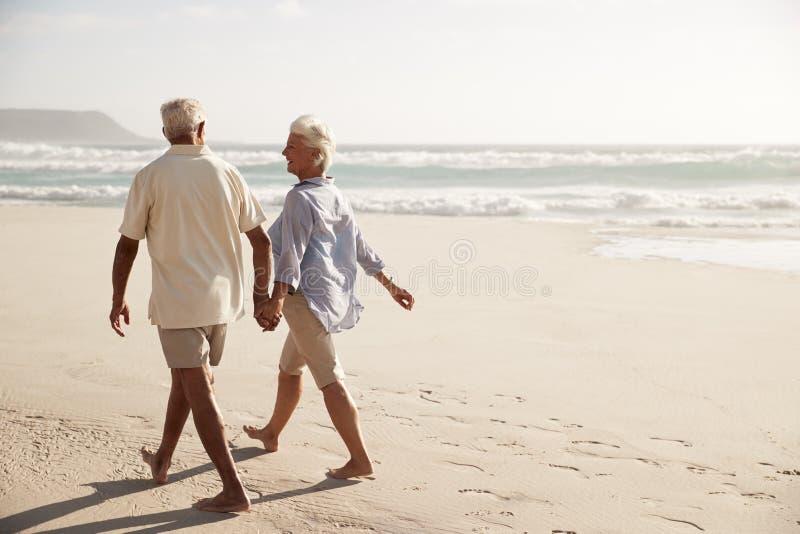 Vista posterior de los pares mayores que caminan a lo largo de la playa de común acuerdo imagen de archivo