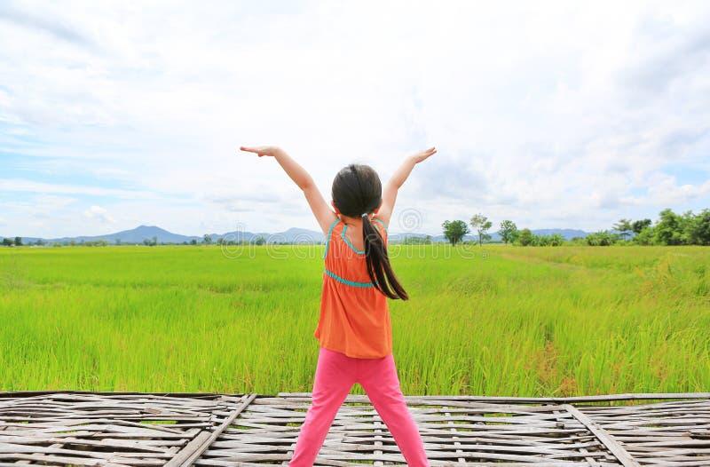 Vista posterior de los pequeños brazos asiáticos del estiramiento de la muchacha del niño y relajada en los campos de arroz verde imagen de archivo