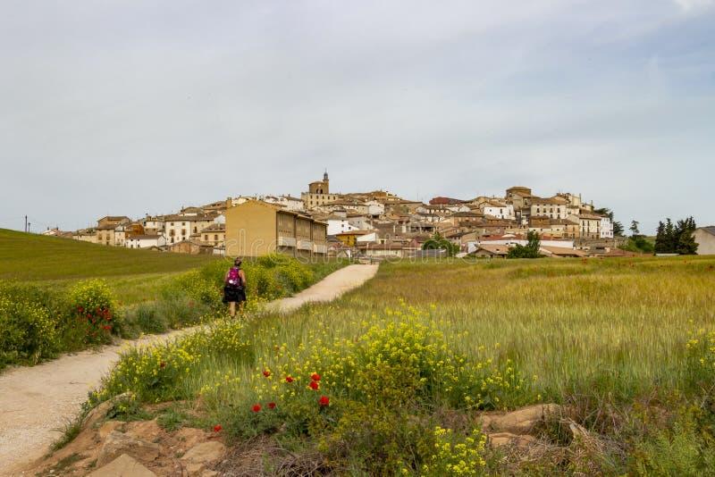 Vista posterior de un peregrino femenino en el camino de San Jaime, Camino de Santiago, la ciudad de Cirauqui, España en el fondo foto de archivo libre de regalías
