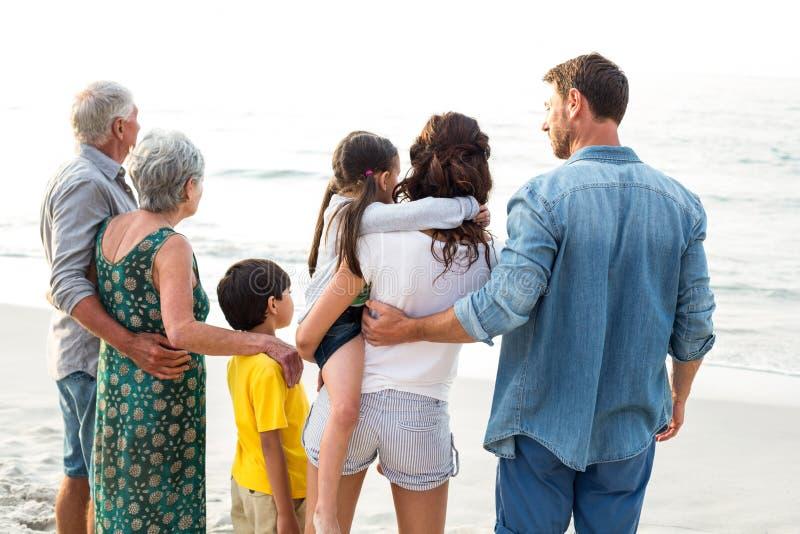 Vista posterior de una familia feliz que presenta en la playa foto de archivo
