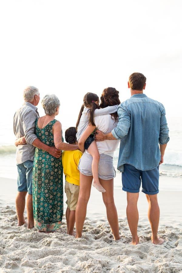 Vista posterior de una familia feliz que presenta en la playa fotos de archivo