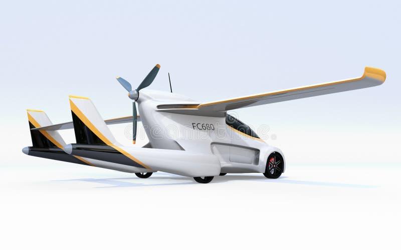 Vista posterior del coche autónomo futurista en el fondo blanco libre illustration