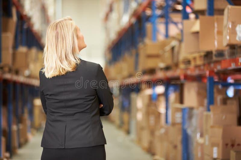 Vista posterior del encargado de sexo femenino In Warehouse imagenes de archivo