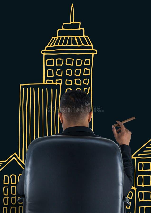 Vista posterior del hombre de negocios que se sienta en silla delante de edificios exhaustos mientras que fuma stock de ilustración