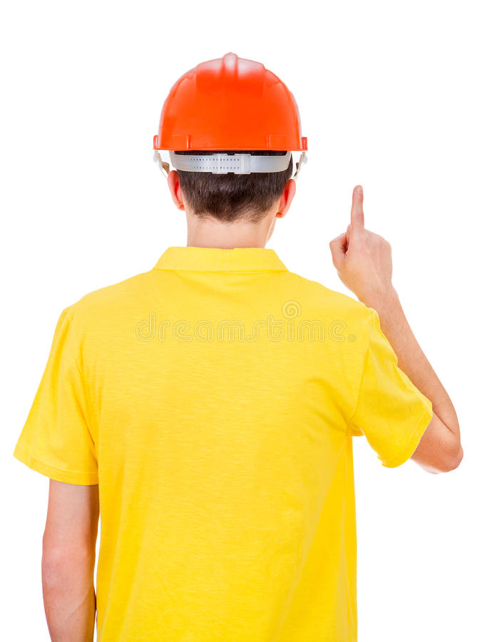 Vista posterior del hombre en casco fotografía de archivo libre de regalías
