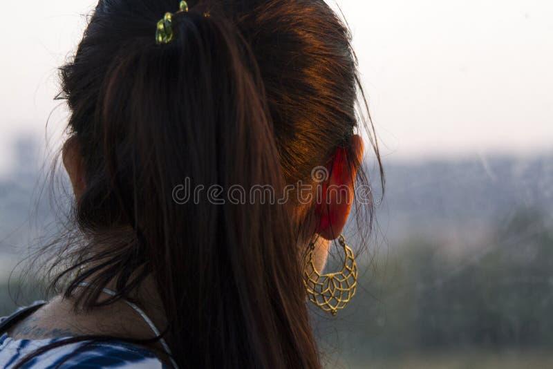 Vista posterior del primer de un pelo de las mujeres negras imagen de archivo