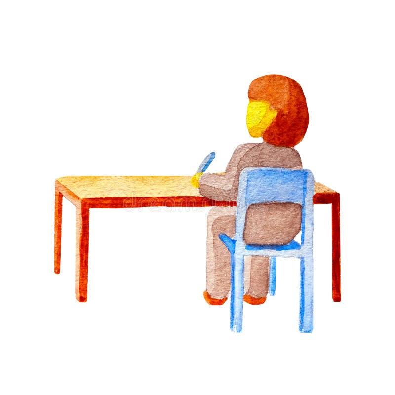 Vista posterior plana de la acuarela de una morenita caucásica de la colegiala que se sienta detrás de un escritorio de madera so foto de archivo libre de regalías