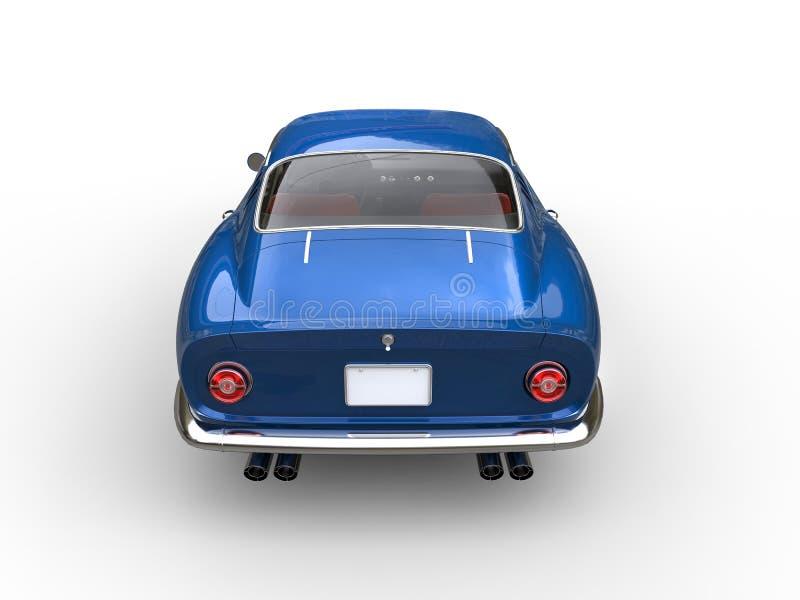 Vista posteriore automobilistica di sport classici blu scuro illustrazione vettoriale