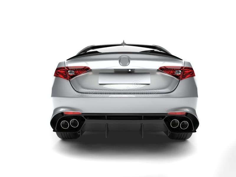 Vista posteriore automobilistica veloce moderna d'argento eccellente illustrazione di stock