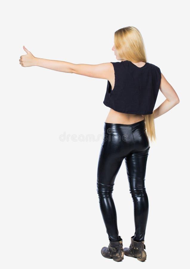 Vista posteriore dei pollici della donna su Raccolta posteriore della gente persona della parte fotografie stock libere da diritti