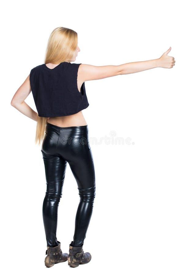 Vista posteriore dei pollici della donna su Raccolta posteriore della gente persona della parte immagini stock