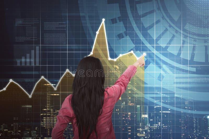 Vista posteriore del grafico indicante asiatico della donna di affari fotografia stock