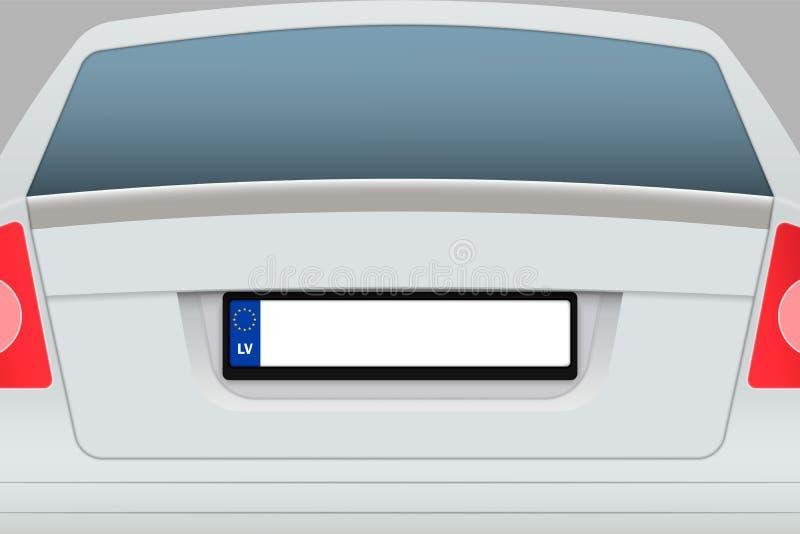 Vista posteriore dell'automobile con la targa di immatricolazione royalty illustrazione gratis