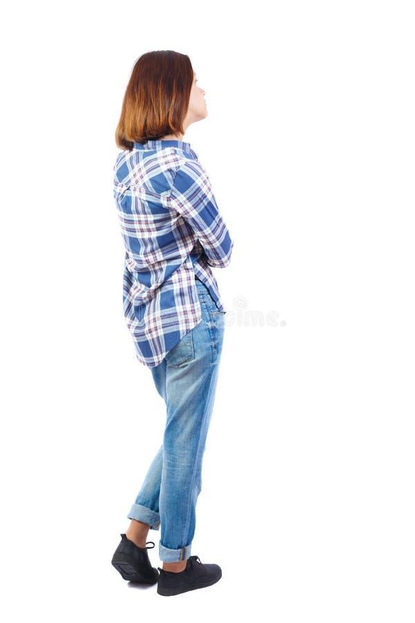 Vista posteriore di stare giovane bella donna immagine stock libera da diritti