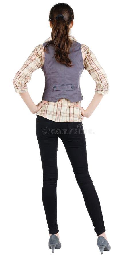 Vista posteriore di stare la bella donna castana di affari. immagine stock libera da diritti