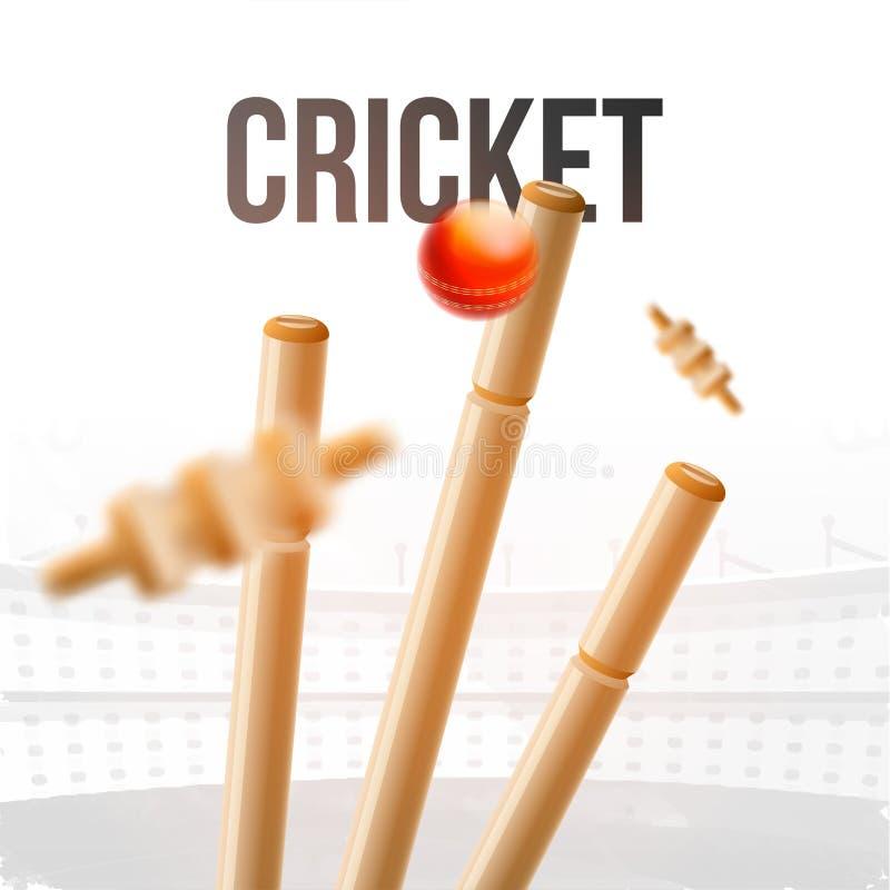 Vista próxima da bola que bate a ilustração dos cotoes do wicket para o competiam do críquete ilustração do vetor