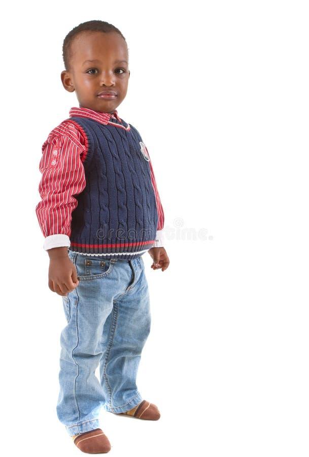 Vista preta nova bonito do menino fotografia de stock royalty free