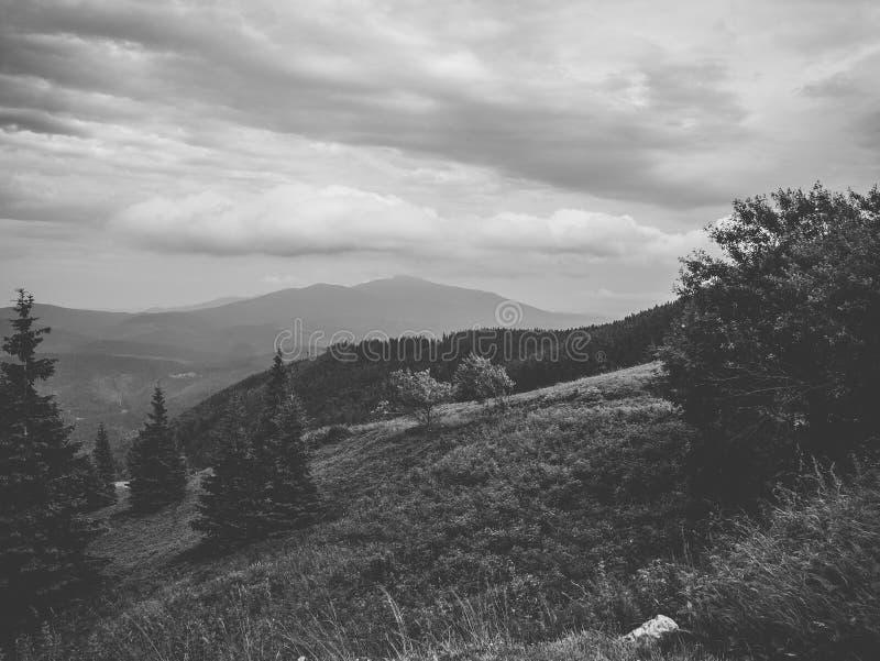 Vista preto e branco das montanhas fotos de stock
