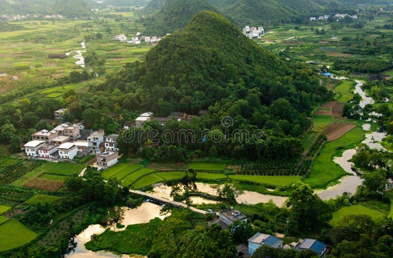 Vista que sorprende de los campos y de las rocas del arroz de Yangshuo en China fotografía de archivo