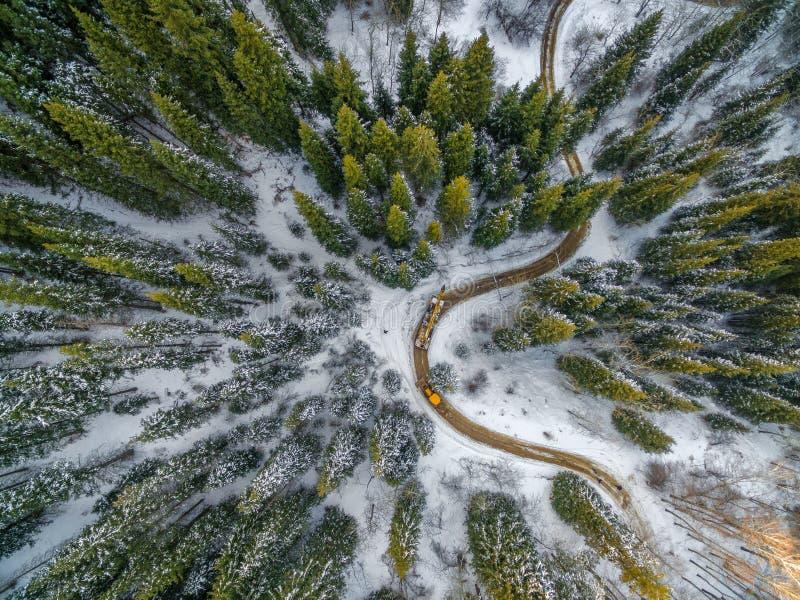 Vista a?rea da floresta nevado com uma estrada Capturado de cima com de um zang?o fotos de stock