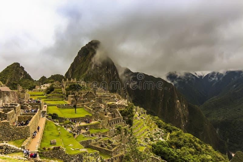 Vista a?rea das ru?nas principais da citadela de Machu Picchu imagem de stock