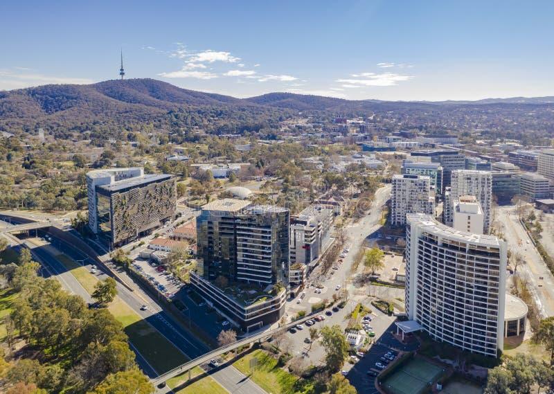 Vista a?rea de la ciudad de Canberra imagenes de archivo
