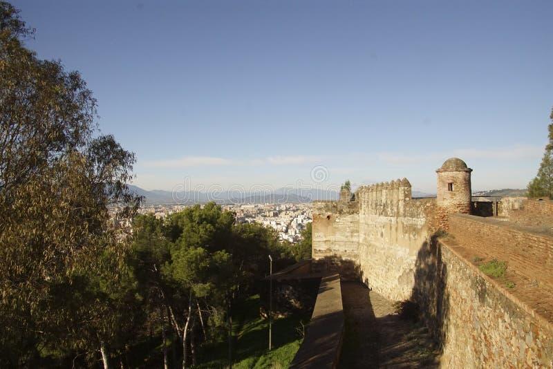 Vista a?rea de la ciudad del castillo de Gibralfaro foto de archivo libre de regalías