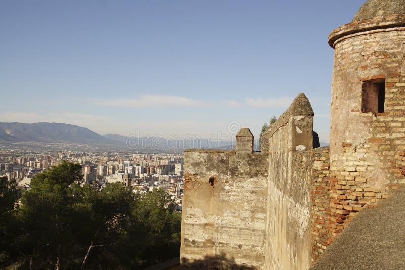 Vista a?rea de la ciudad del castillo de Gibralfaro fotos de archivo libres de regalías
