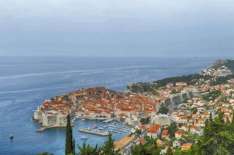 Vista a?rea de la ciudad vieja de Dubrovnik imagenes de archivo